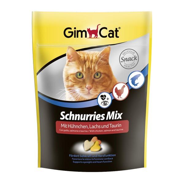 GimCat Schnurries Mix mit Hühnchen Lachs und Taurin 140g