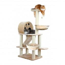 Trixie Arbre à chat Allora 176 cm - beige Trixie Kratzbaum Allora 176 cm – beige Arbre à chat Trixie grand et luxueux en peluche avec des espaces de couchage, un abri douillet, 2 niches, un toboggan pour chat, et jouets sur une corde.