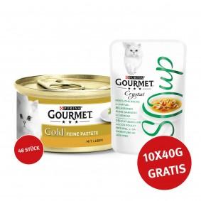 Gourmet Gold Feine Pastete Leber 48x85g + Crystal Soup mit Huhn und Gemüse 10x40g GRATIS!