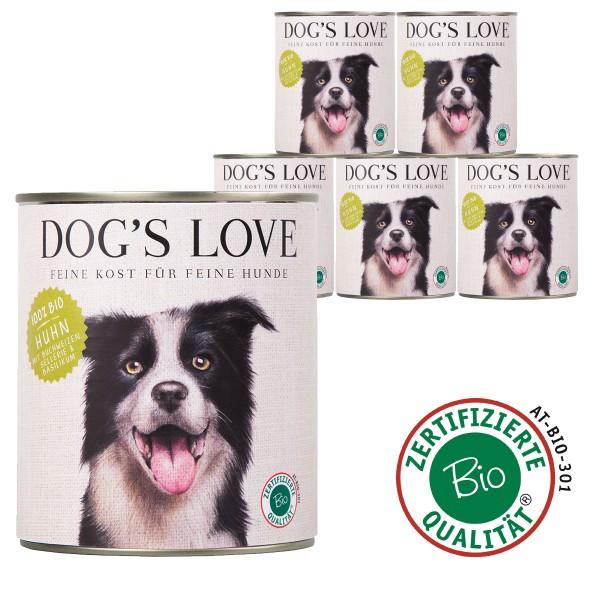Dog's Love Bio Huhn mit Buchweizen, Sellerie & Basilikum 800g 11 plus 1