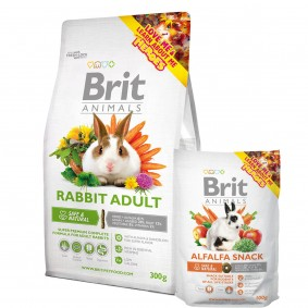 Probierpaket Brit Animals Rabbit Adult Complete 300g + Alfalfa Snack 100g