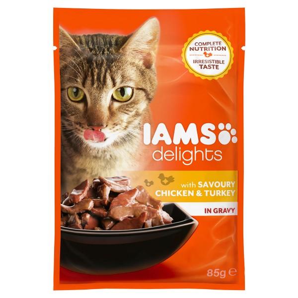 Iams Delights Katzen-Nassfutter in Soße Huhn & Pute 24x85g