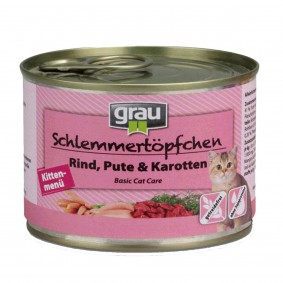 Grau Schlemmertöpfchen Kittenmenü mit Rind, Pute & Karotten 48x200g
