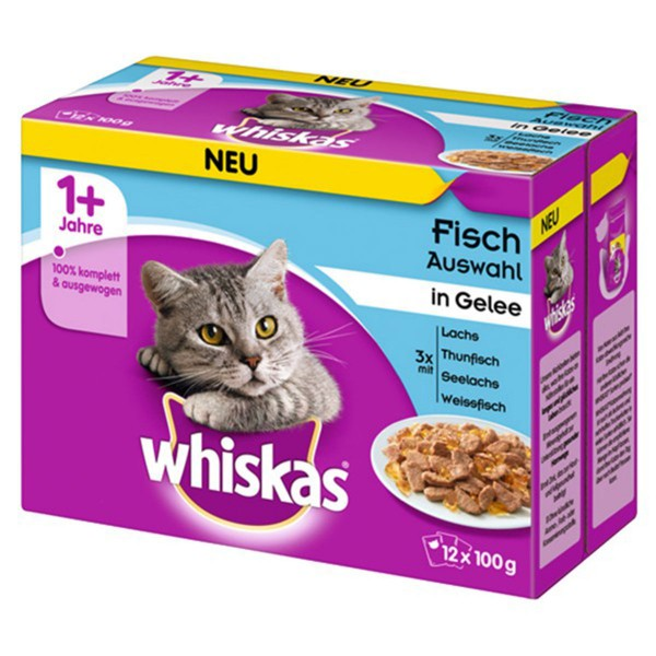Whiskas 12er Multipack 1+ Fischauswahl in Gelee 12x100g