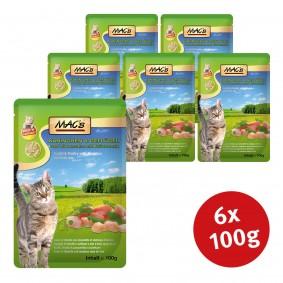 Guhrow Angebote Pro Pet MAC´´s Cat Katzenfutter Pouchpack Kaninchen, Geflügel und Löwenzahn - 6x100g