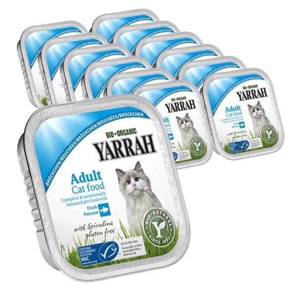 Yarrah Katzenfutter Bio Bröckchen Fisch 16x100g