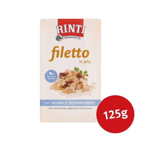 Rinti Hunde-Nassfutter Filetto in Jelly Huhn und Hühnerherz 125g