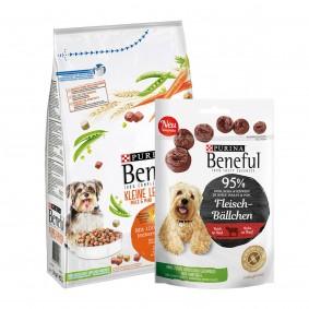 Beneful Kleine Leckerbissen mit Huhn, Gemüse und Getreide 1,4kg + Meatball Snack 70g GRATIS