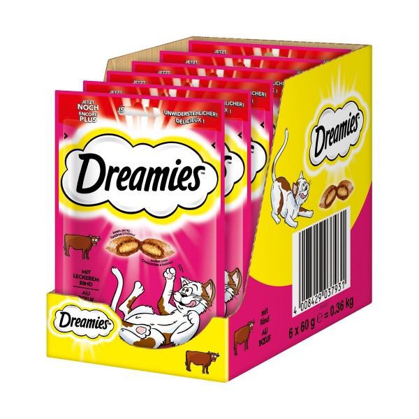 Dreamies Katzensnack mit Rind - 6x60g