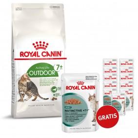 Royal Canin Katzenfutter Outdoor Mature 7+ 10kg plus Instinctive in Sosse 12x85g GRATIS