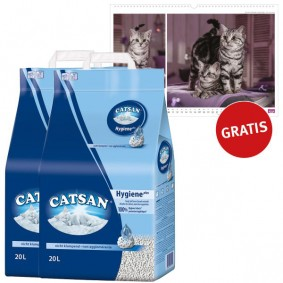 Catsan Hygiene Katzenstreu 2x20 Liter plus Whiskas Familienkalender 2017
