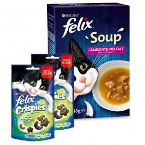 FELIX Soup Rind, Huhn, Thunfisch 48x48g + Felix Crispies 2er Pack gratis