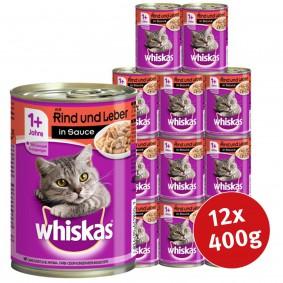 Whiskas Katzenfutter 1+ mit Rind & Leber in Sauce 12x400g