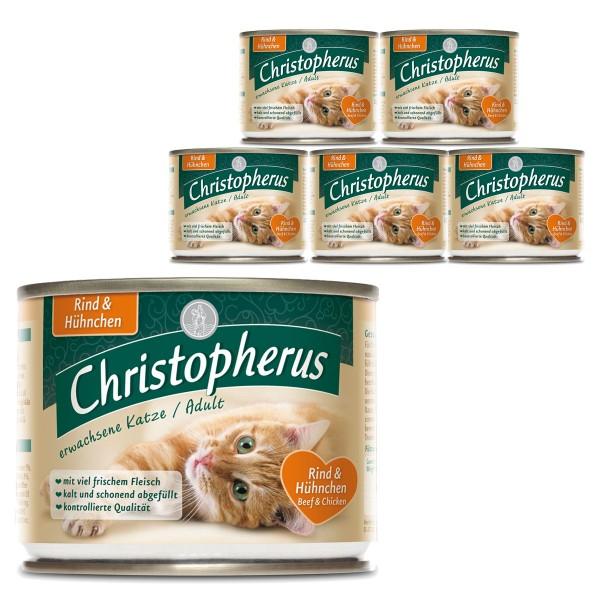 Christopherus Fleischmahlzeiten Katzenfutter Rind und Hühnchen 6x200g