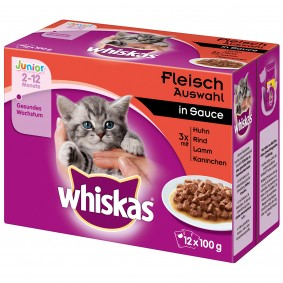 Whiskas Junior Fleischauswahl in Sauce Multipack 12x100g