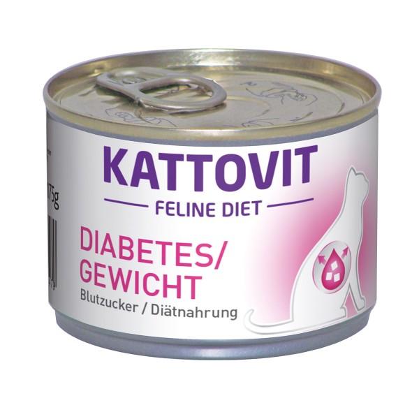 Kattovit Katzenfutter Feline Diät Diabetes/Gewicht 12x175g