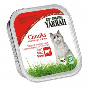 Yarrah Katzenfutter Bio Bröckchen Rind 16x100g