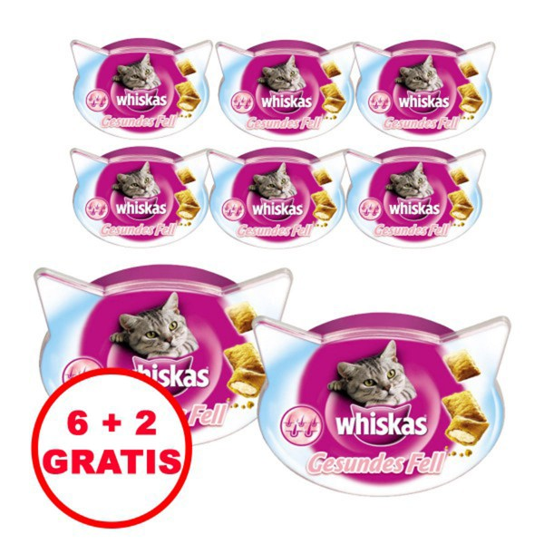 Whiskas Katzensnack Gesundes Fell 6 plus 2 gratis 8x50g