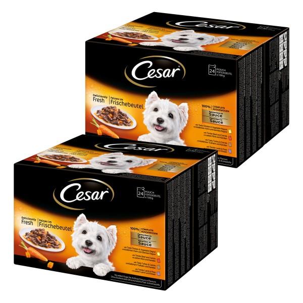 Cesar Multipack Favoriten in Sauce Nassfutter 48x100g