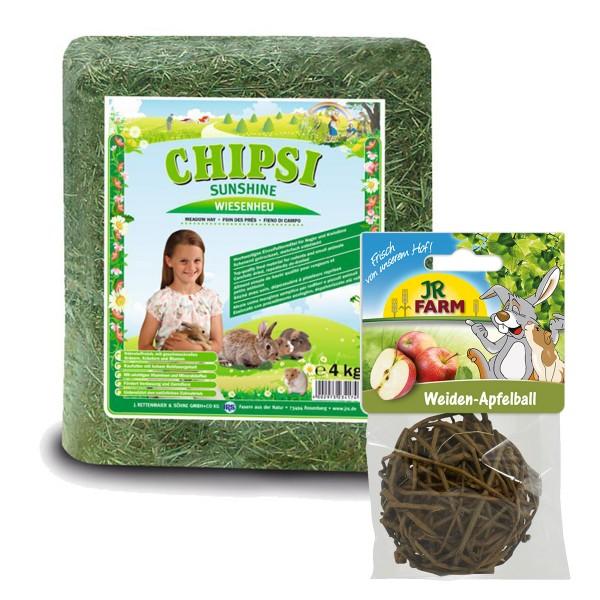 Chipsi Kleintierheu Sunshine Wiesenheu 4kg + JR Farm Weiden-Apfelball 15g Sparpack