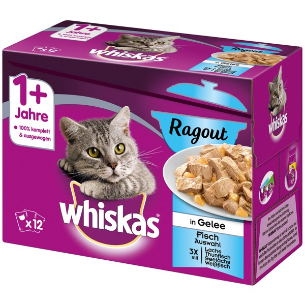 Whiskas Adult 1+ Ragout Fischauswahl in Gelee 12x85g