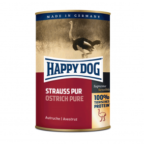 Happy Dog Hundefutter Strauß Pur 12x400g