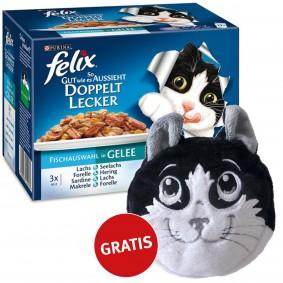 Felix Multipack doppelt lecker Fischauswahl in Gelee 48x100g plus gratis Katzenkissen