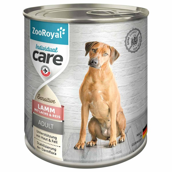 ZooRoyal Individual care - Adult Sensitive Lamm mit Lachs u. Reis 6x800g