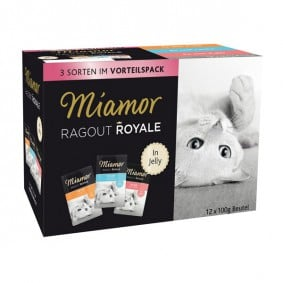 Miamor Ragout Royale Pute, Lachs, Kalb in Jelly Multibox Adult 12x100g