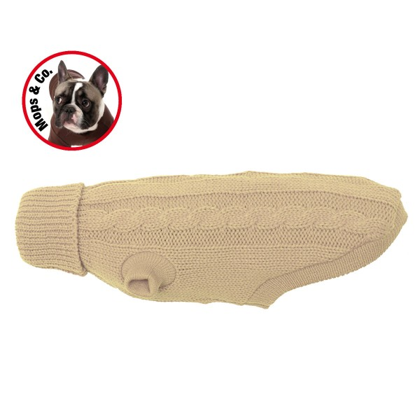 Wolters Zopf-Strickpullover für Mops & Co. beige