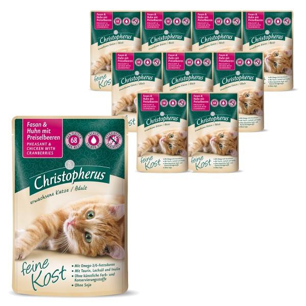Christopherus Katze Adult Fasan und Huhn mit Preiselbeeren 12x85g