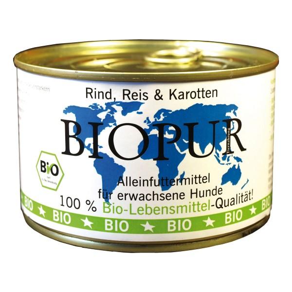 BIOPUR Hundefutter Bio Rind, Reis, Karotten 12x...