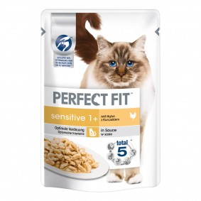 Perfect Fit Katzenfutter Sensitive mit Huhn 12x85g + 4x85g gratis