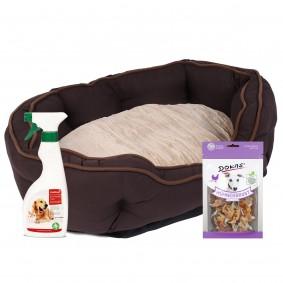 ZooRoyal Premium Hundebett Wido braun/beige 100x70x20 cm + gratis Dokas Snack Hühnerbrust mit Fisch
