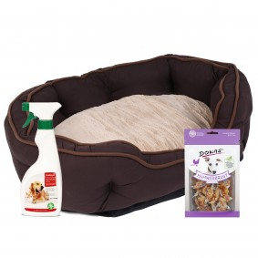 ZooRoyal Premium Hundebett Wido braun/beige 65x50x20 cm + gratis Dokas Snack Hühnerbrust mit Fisch 7
