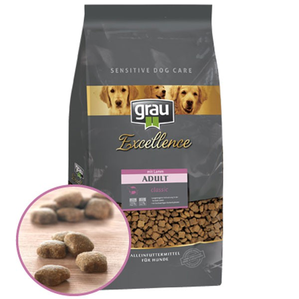 Grau Excellence Hunde-Trockenfutter Adult Classic mit Lamm
