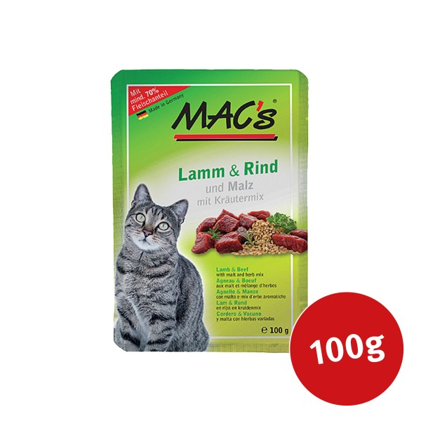 MAC's Cat Katzenfutter Pouchpack Lamm, Rind und Malz