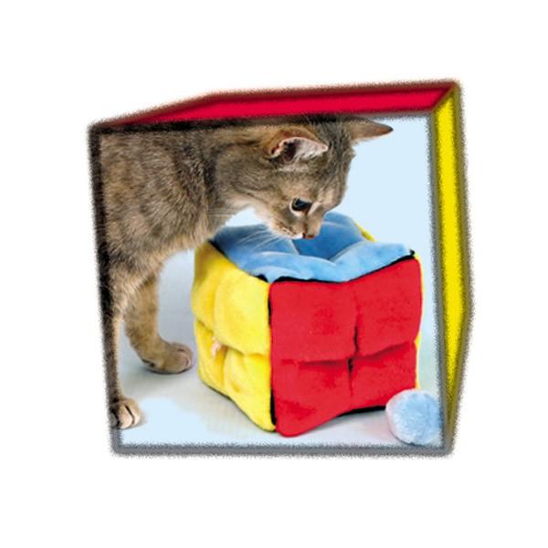 Trixie Plüschwürfel mit 4 Catnip-Bällen 14x14x14cm