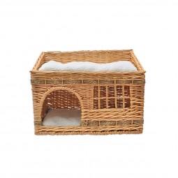 Aumüller Katzenhaus rechteckig aus geflochtener Weide inkl. 2xPlüschkissen