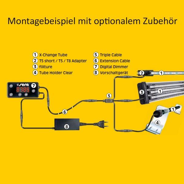 Sera Aufsatzlampe für LED Röhren fiXture silver