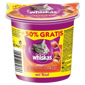 Whiskas Knuspertaschen Care & Treats Rind 60g plus 30g gratis