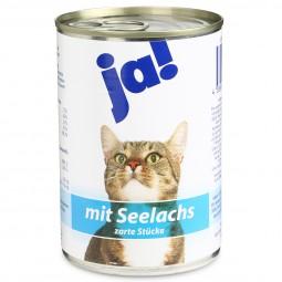 ja! Katzenfutter mit Seelachs in zarten Stückchen