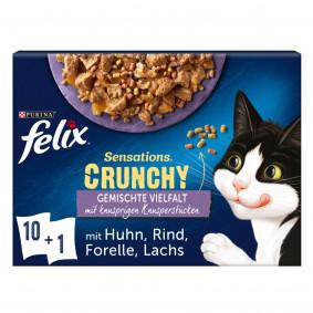FELIX Sensations Crunchy Geschmacksvielfalt mit Gemüse 10x85g + 1x40g Knusperstückchen