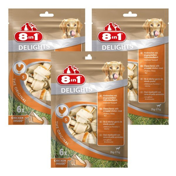 8in1 Hundesnacks Delights Kauknochen Huhn im Beutel