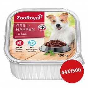ZooRoyal Hunde-Nassfutter Grillhappen mit Rind 44 x 150g