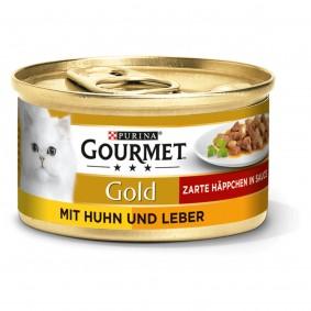 GOURMET Gold Zarte Häppchen Katzennassfutter mit Huhn & Leber