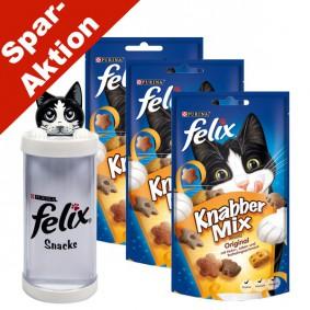 Felix Knabber Mix 3x Katzensnack Original - Gratis Snackspender