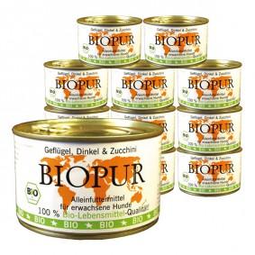 BIOPUR Hundefutter Bio Geflügel, Dinkel & Zucchini 12x400g