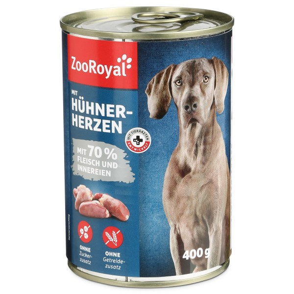 ZooRoyal Hunde-Nassfutter mit Hühnerherzen - 400g