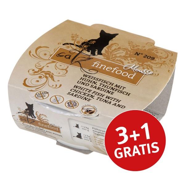 Catz finefood Mousse N°209 Weissfisch mit Huhn, Thunfisch und Sardine 100g 3+1 gratis